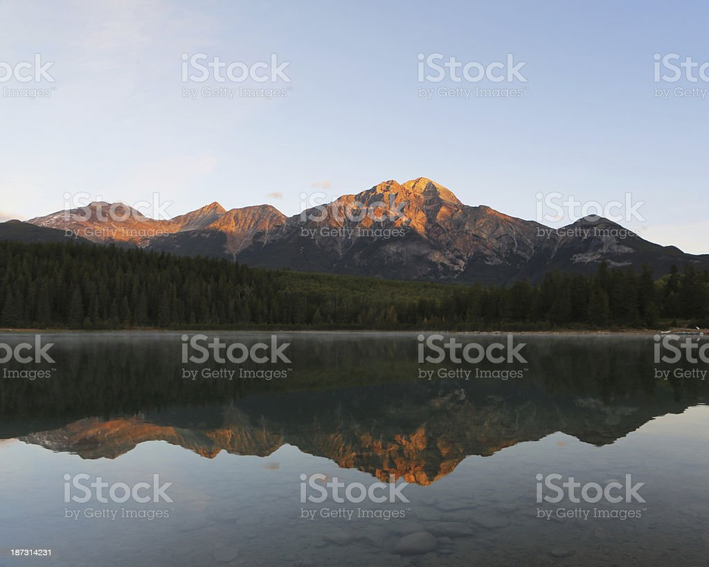 Dawn light Pyramid Lake and Mountain, Jasper,  Canada stock photo