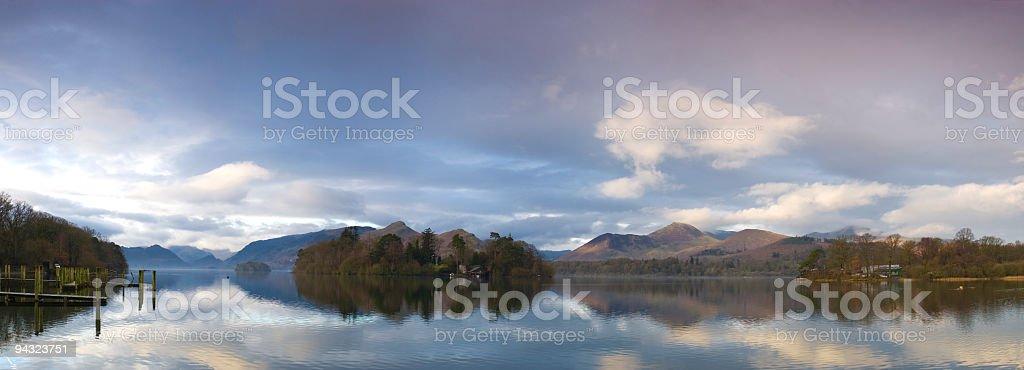 Dawn mist, Derwent Water, Cumbria royalty-free stock photo