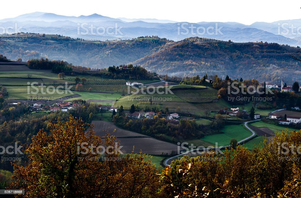 Dawn of the Piedmont Langhe. Autumn harvest time stock photo