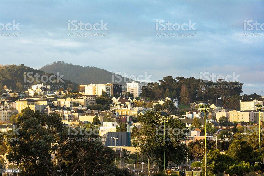 Dawn on Alamo Square, San Francisco stock photo