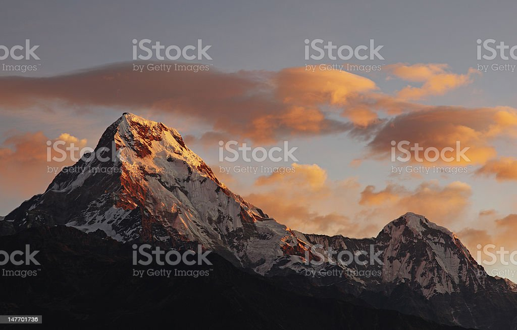 Dawn on Annapurna South royalty-free stock photo