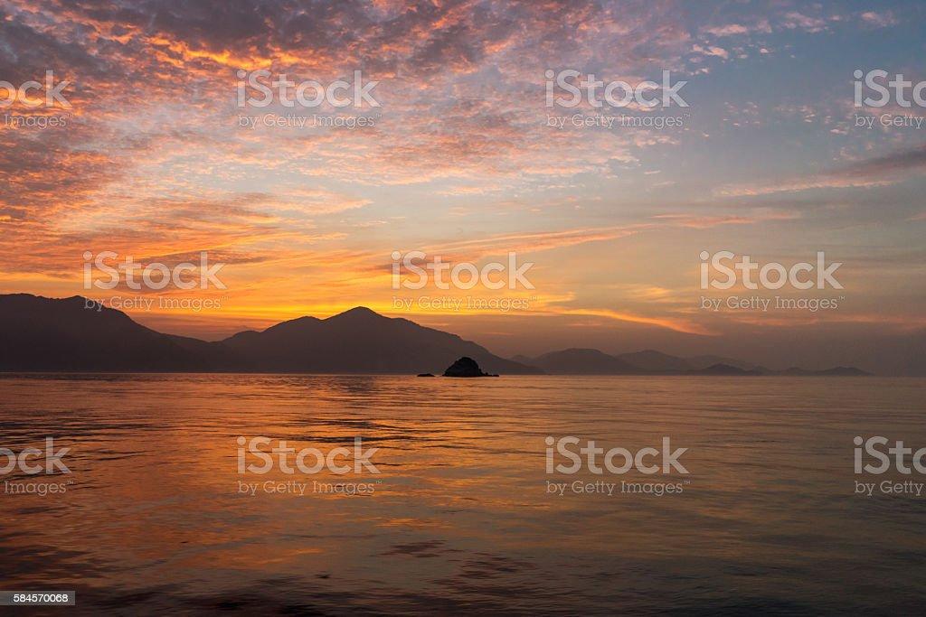 Dawn on boat. Ituski-nada Sea, Hiroshima , Japan stock photo