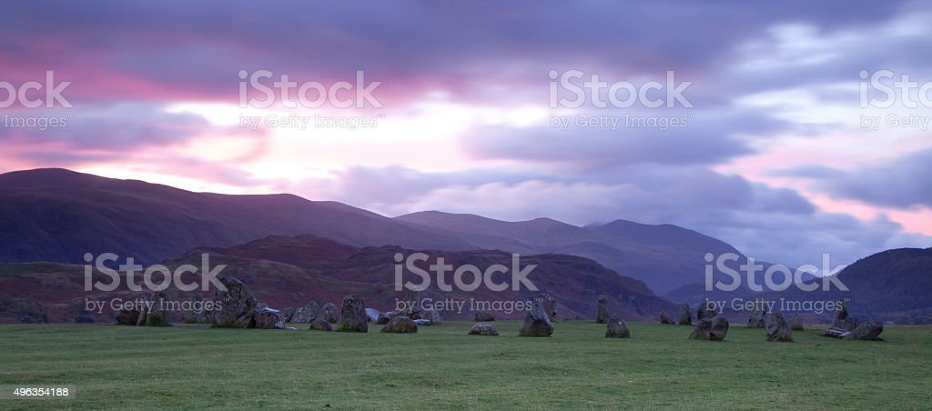 Dawn on Castlerigg Stone Circle, Cumbria stock photo