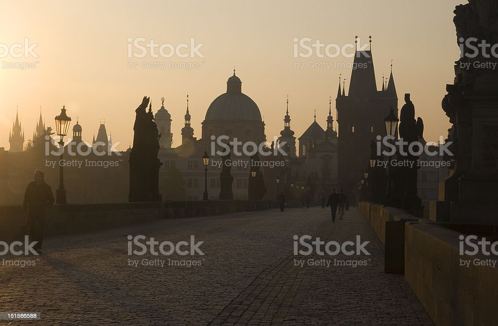 Dawn on Charles Bridge royalty-free stock photo