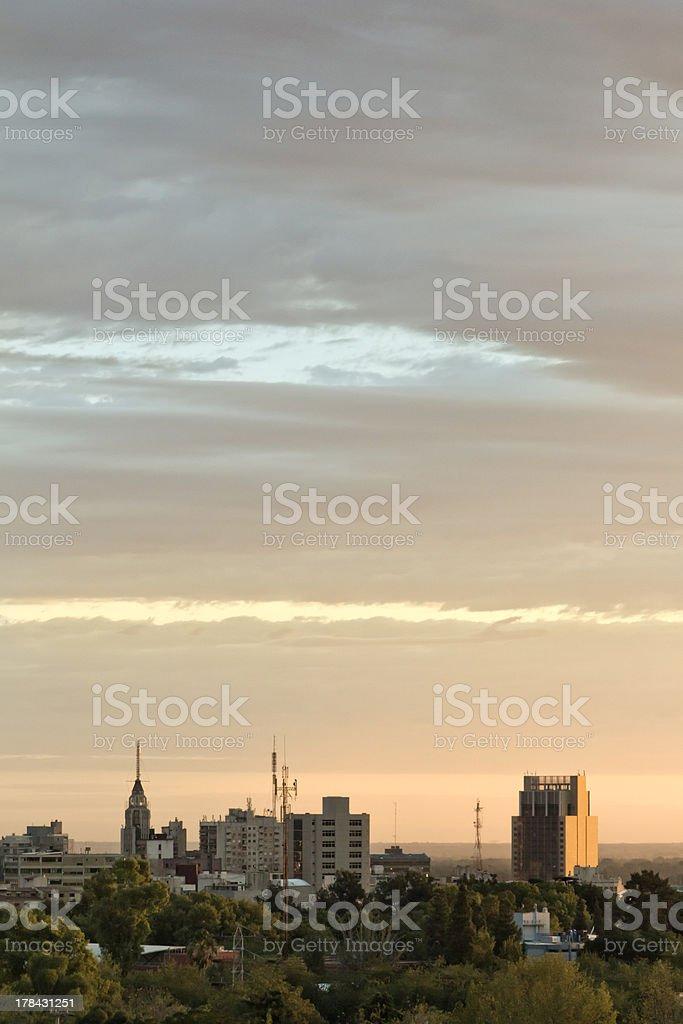 Dawn on city stock photo
