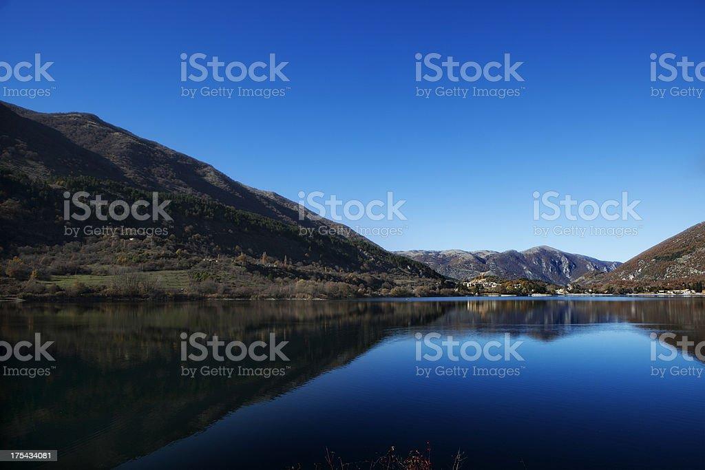 Dawn on Lago di Scanno stock photo