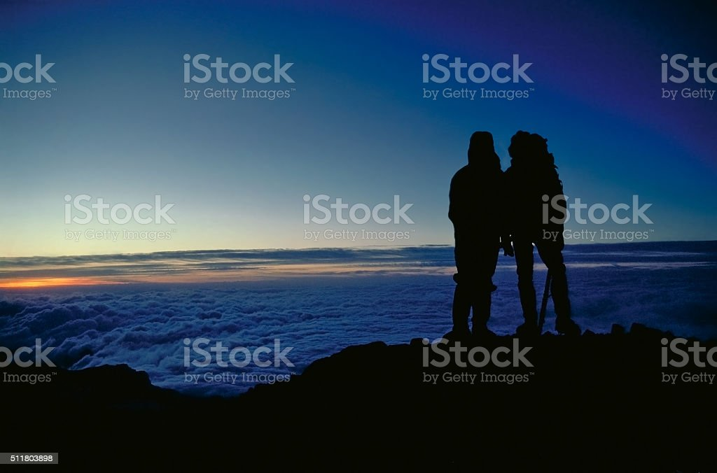 Dawn on Mt. Rainer stock photo