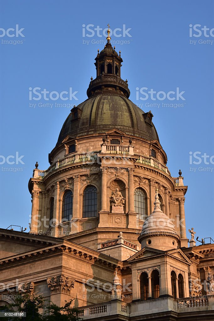 Dawn on Szent Istvan Bazilika stock photo