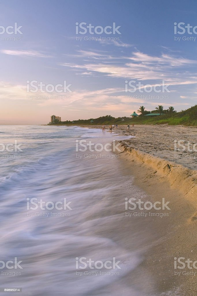 dawn on the beach in south florida stock photo