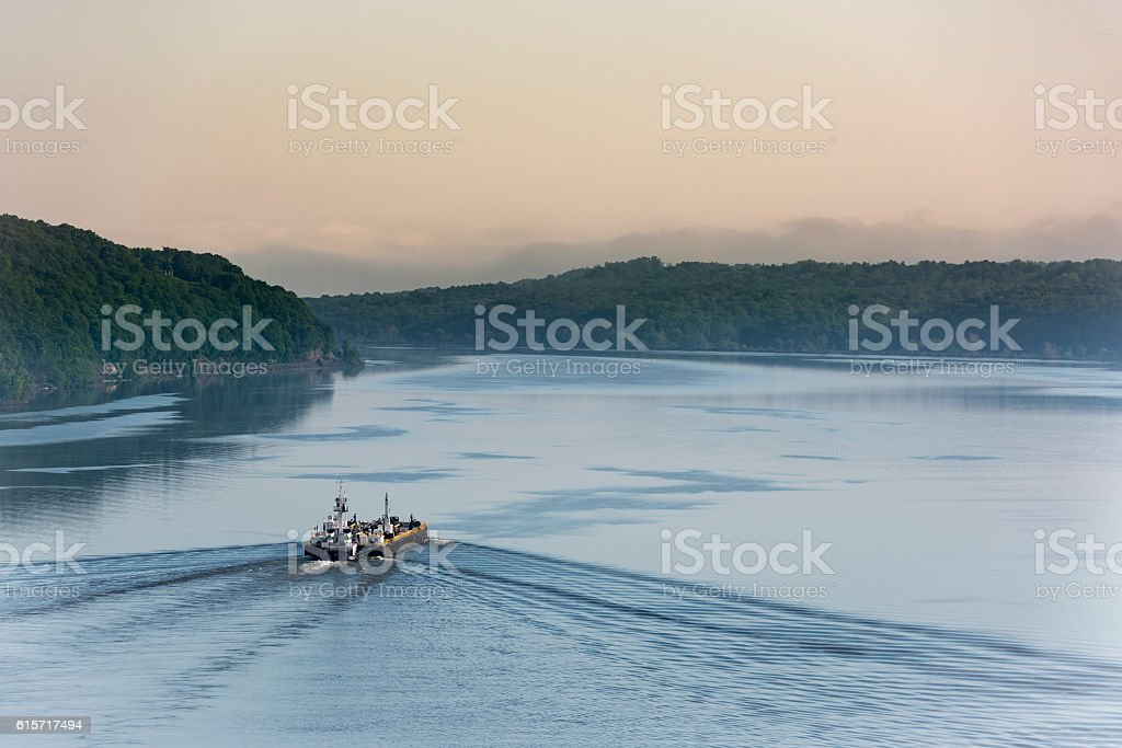 Dawn on the Hudson River stock photo