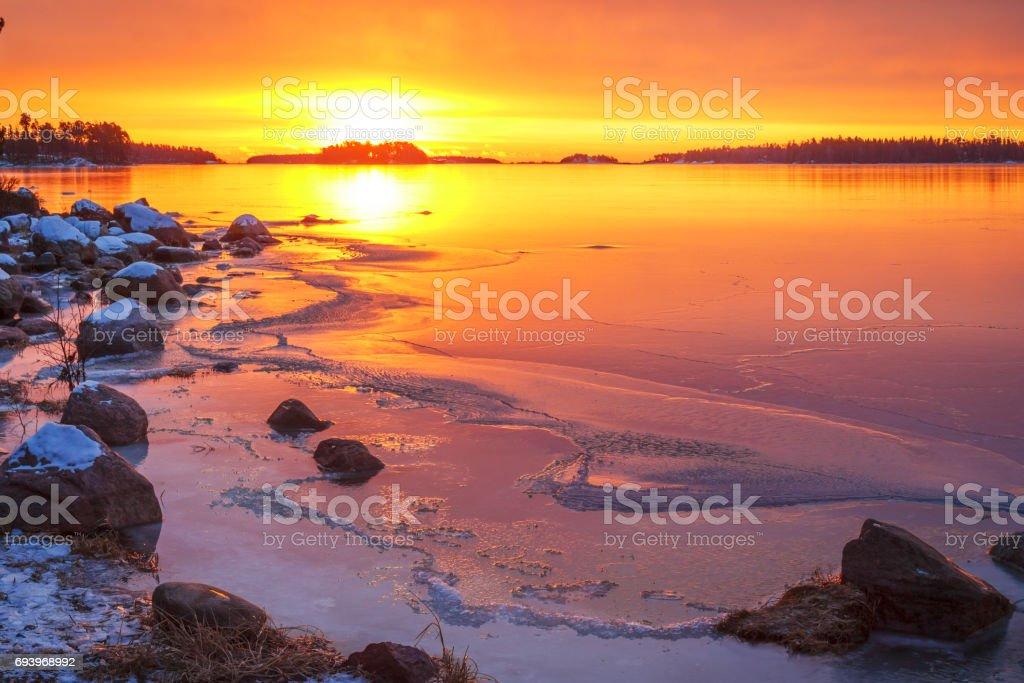 Dawn on the peninsula of Keilalahti in Helsinki, Finland stock photo