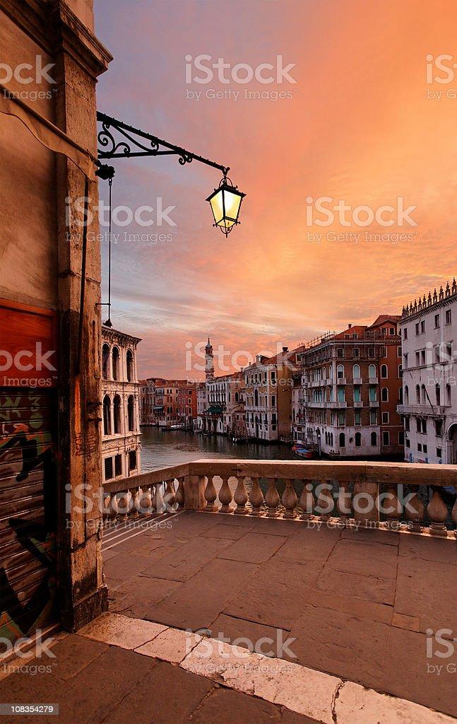 Dawn on the Rialto bridge royalty-free stock photo