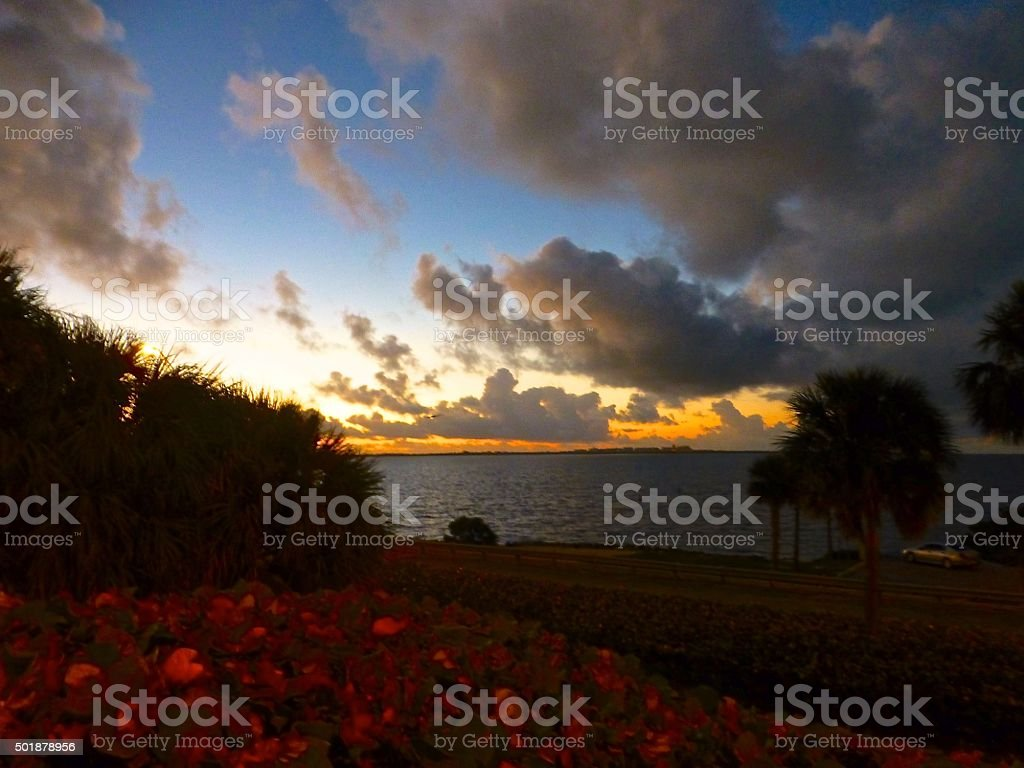 Dawn on the Rickenbacker causeway stock photo