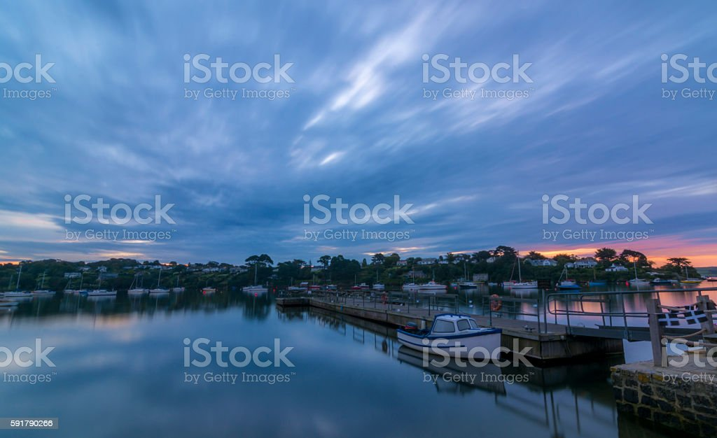 Dawn on the river Fal in Cornwall, England stock photo