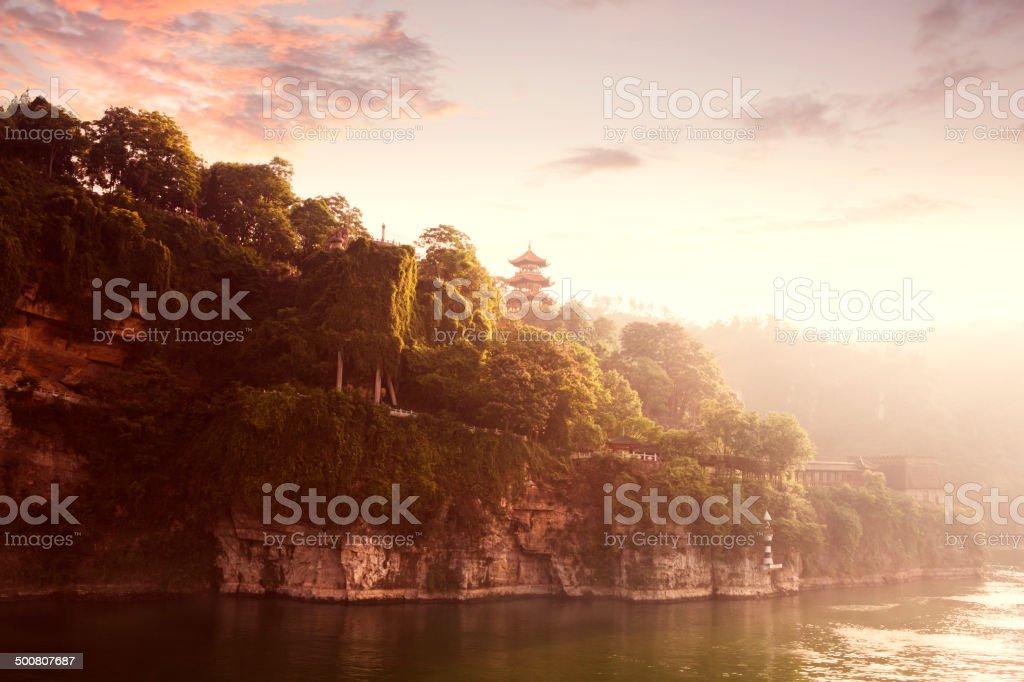 Dawn on the Yangtze River stock photo