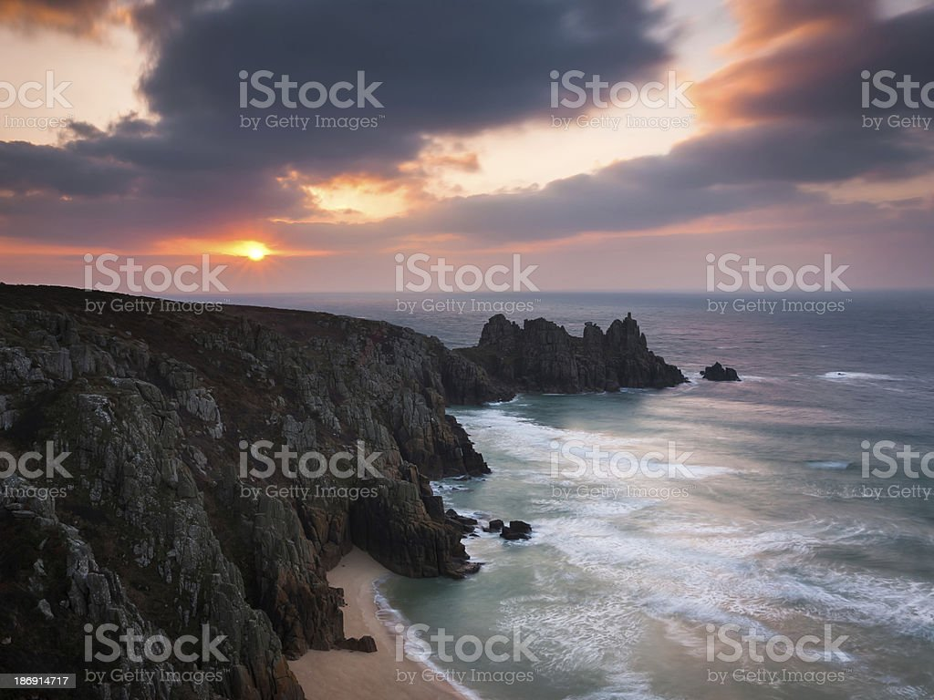 Dawn on Treen Cliffs Cornwall royalty-free stock photo