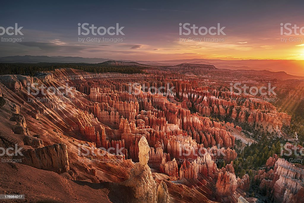 Dawn over Bryce Canyon stock photo