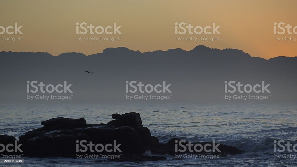 Dawn over False Bay, Cape Town stock photo
