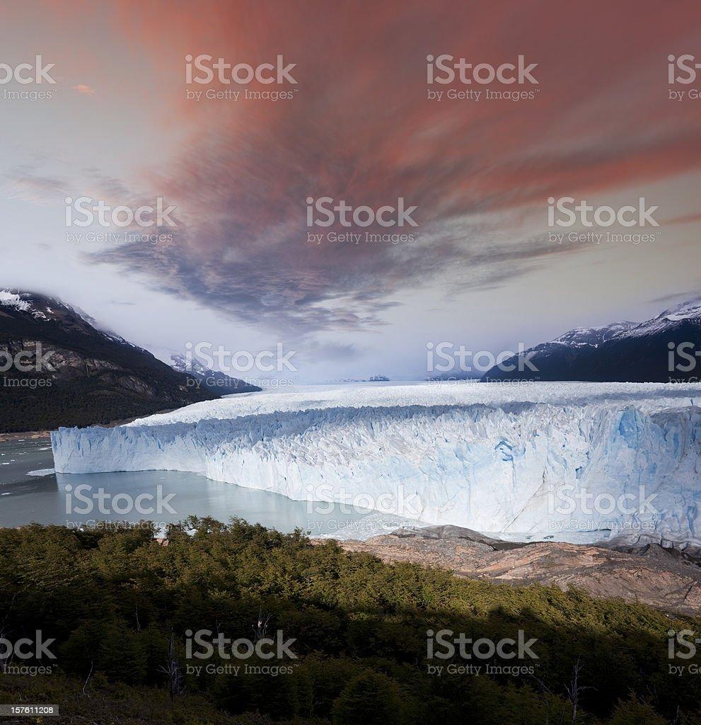 Dawn over glacier Perito Moreno Argentina Patagonia royalty-free stock photo