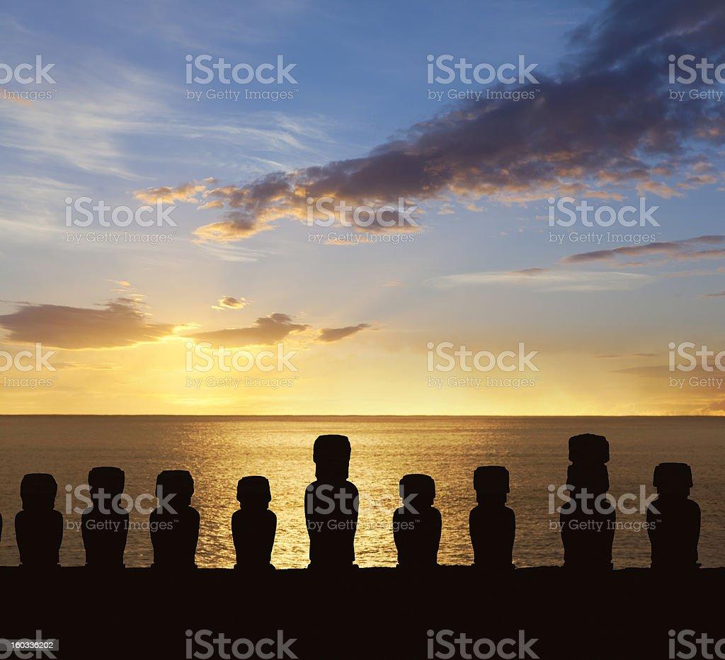 Dawn over moais at Ahu Tongariki Easter Island Chile stock photo