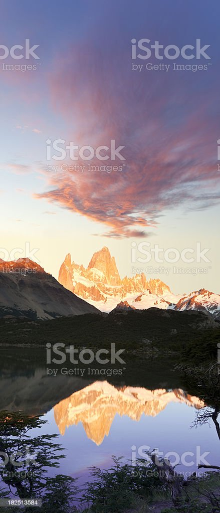 Dawn over Mount Fitz Roy in Argentina Patagonia stock photo