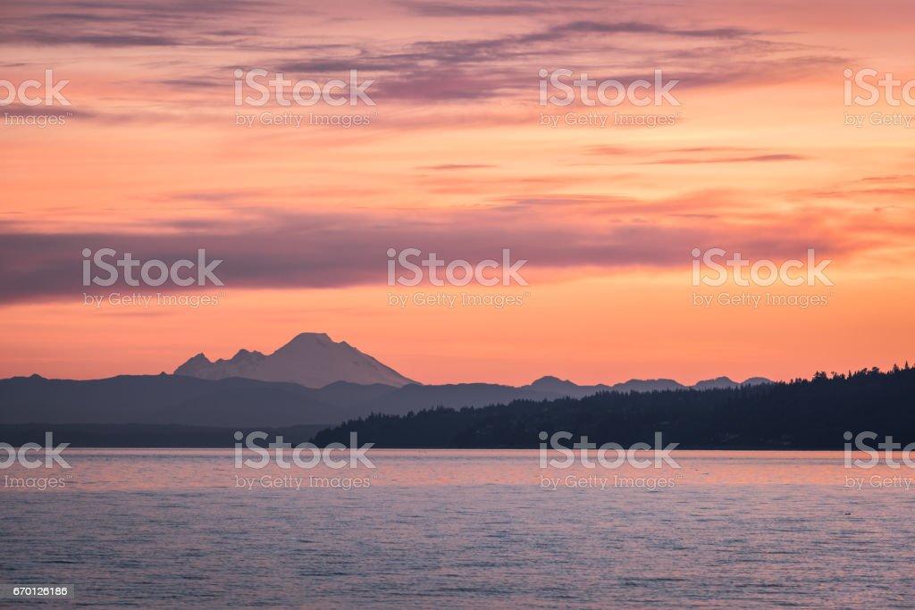 Dawn over Northwest Washington Waters stock photo