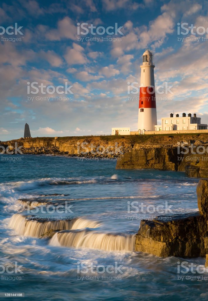 Dawn over Portland Bill lighthouse stock photo