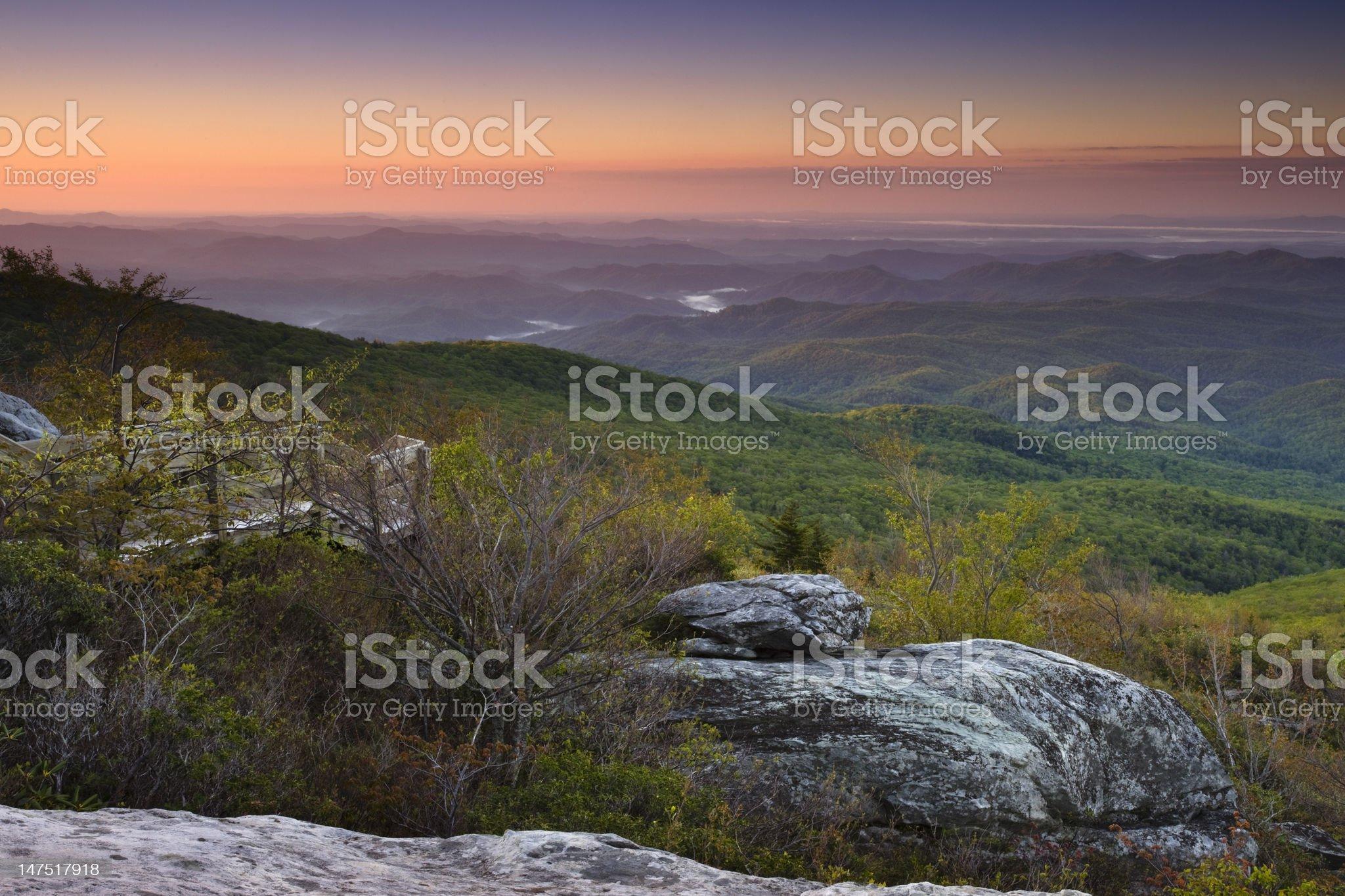 Dawn over the Blue Ridge Mountains royalty-free stock photo