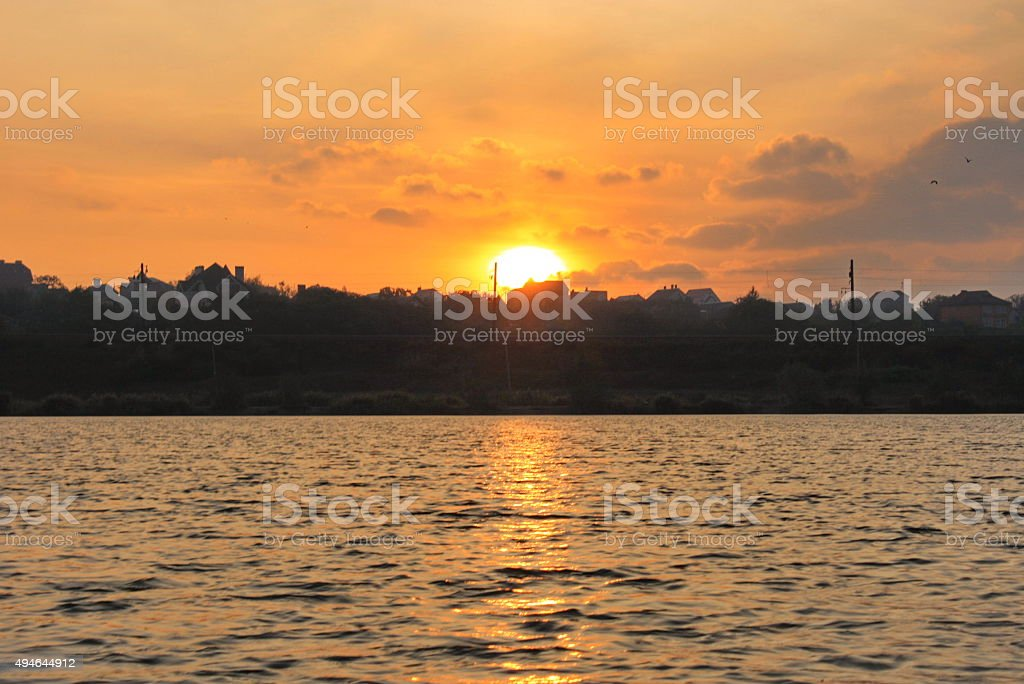 Dawn over the city with a view of river royalty-free stock photo