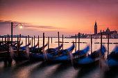 Dawn over the Gondolas of Venice