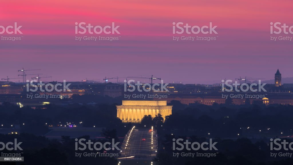 Dawn over the Lincoln Memorial and Washington, D.C. skyline stock photo
