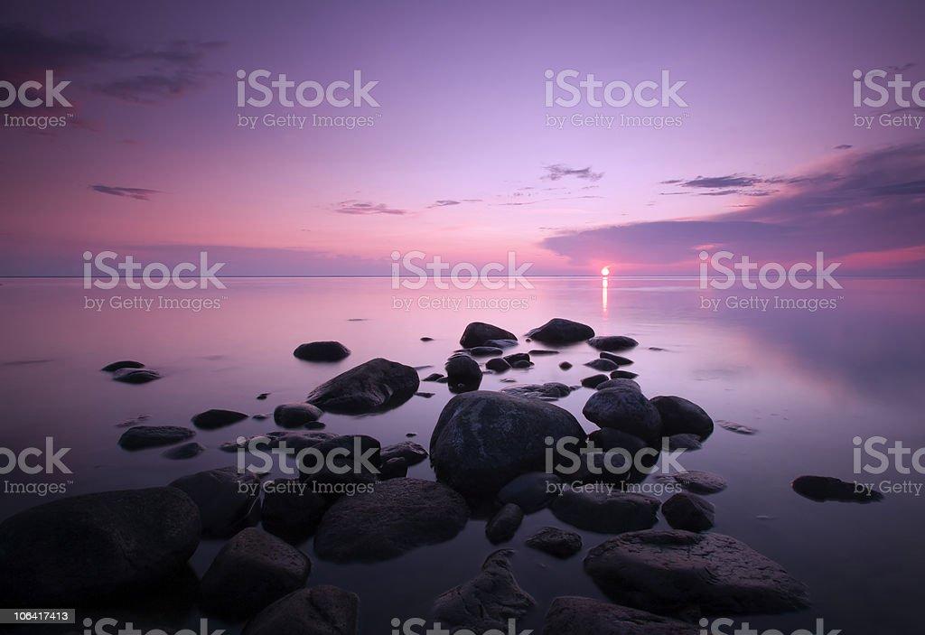 Dawn over the ocean. stock photo