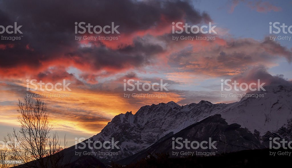 Dawn over the peaks stock photo