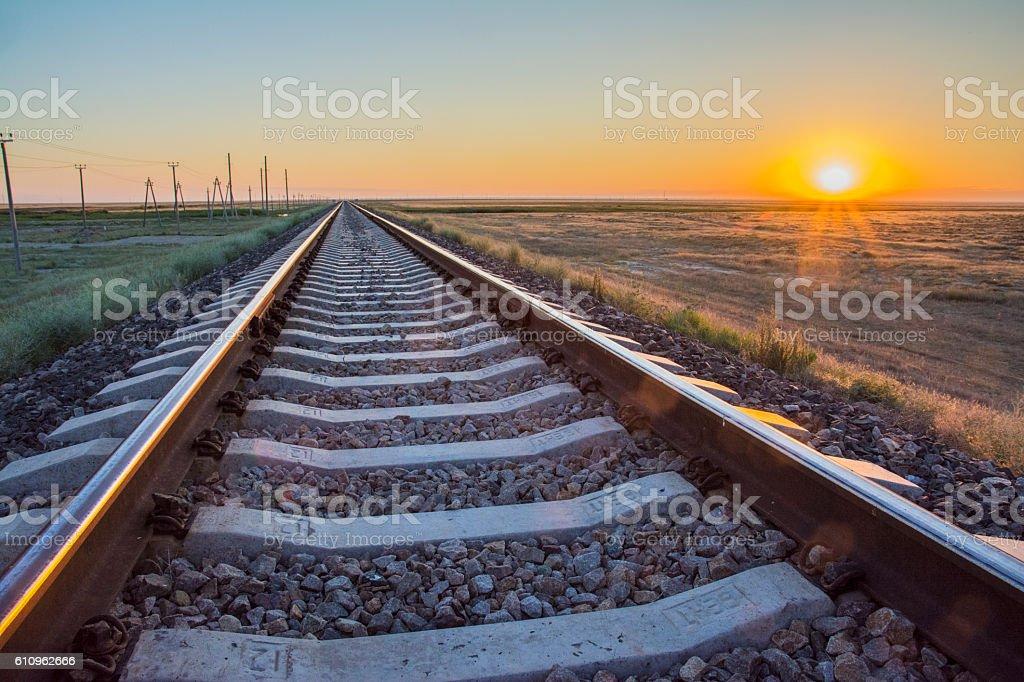 Dawn over the railway stock photo