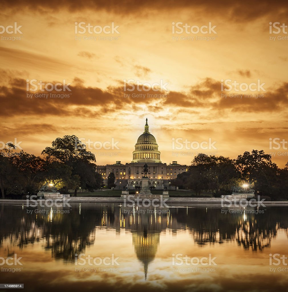 HDR Dawn Over the US Capitol Building in DC royalty-free stock photo