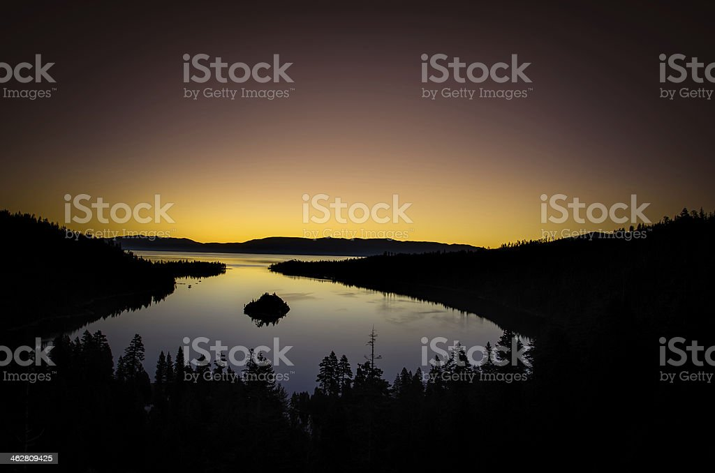 Dawn overlooking Emerald Bay Lake Tahoe stock photo