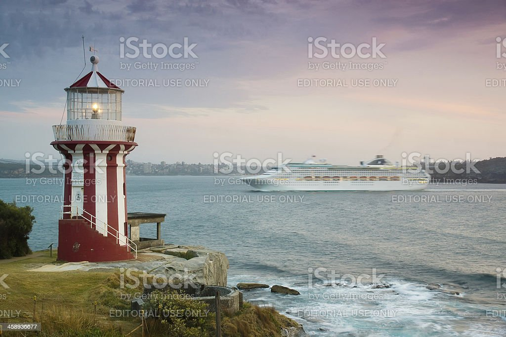 Dawn Princess goes past Hornby Lighthouse stock photo