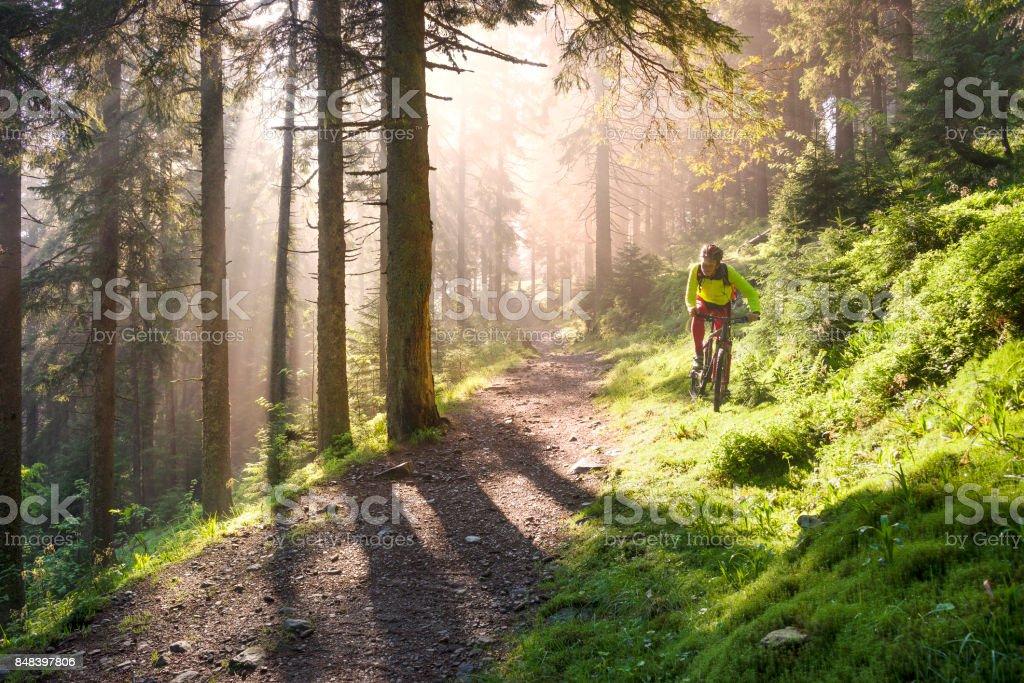 Dawn rays mountain cycling stock photo