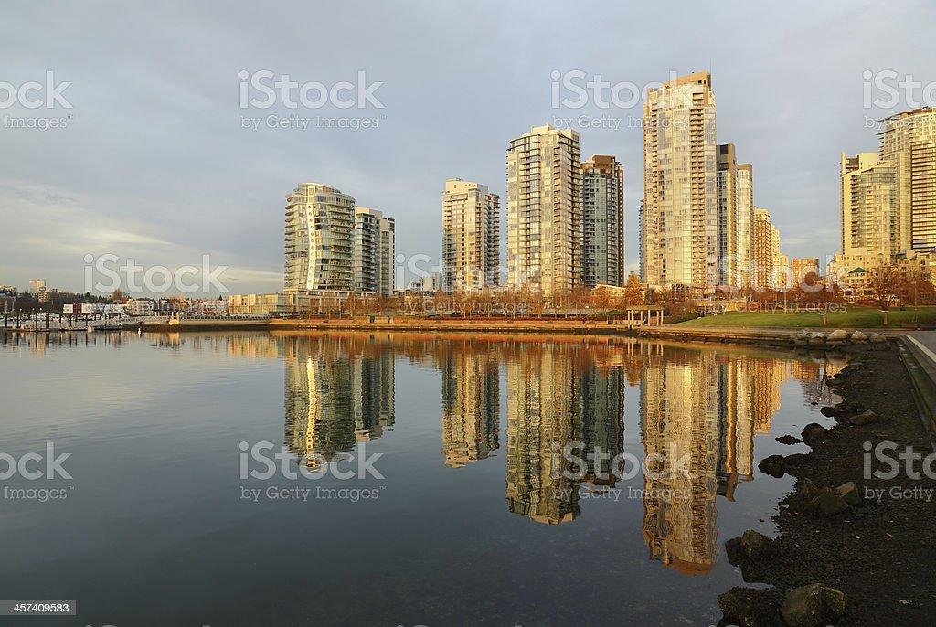 Dawn Reflection, Vancouver Condominiums royalty-free stock photo