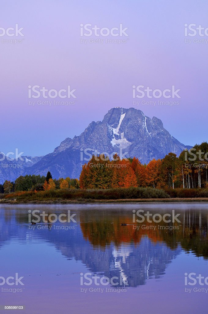 Dawn reflections at Oxbow Bend royalty-free stock photo