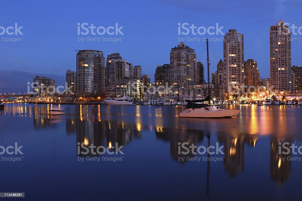 Dawn Reflections, Vancouver stock photo
