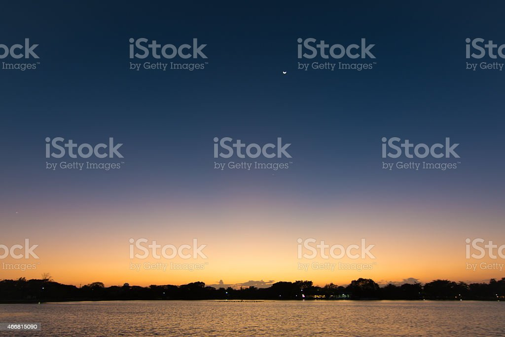 Dawn twilight sky on the river stock photo