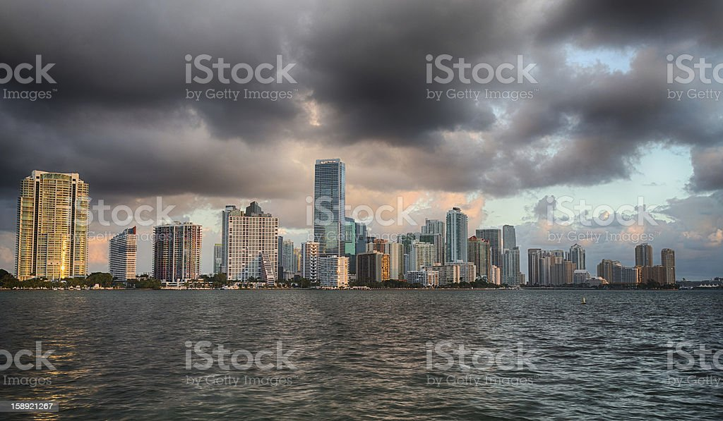 Dawn view of Miami Skyline stock photo