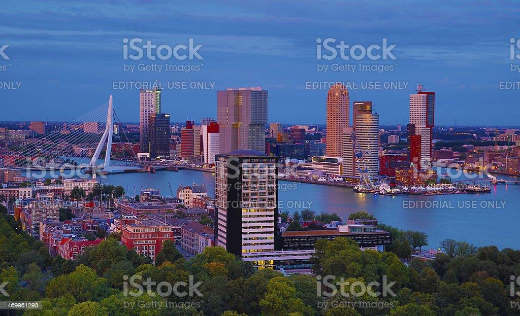 Dawn view of the Rotterdam harbor stock photo