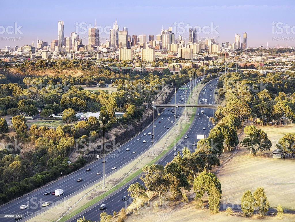 Dawn View Over Melbourne royalty-free stock photo
