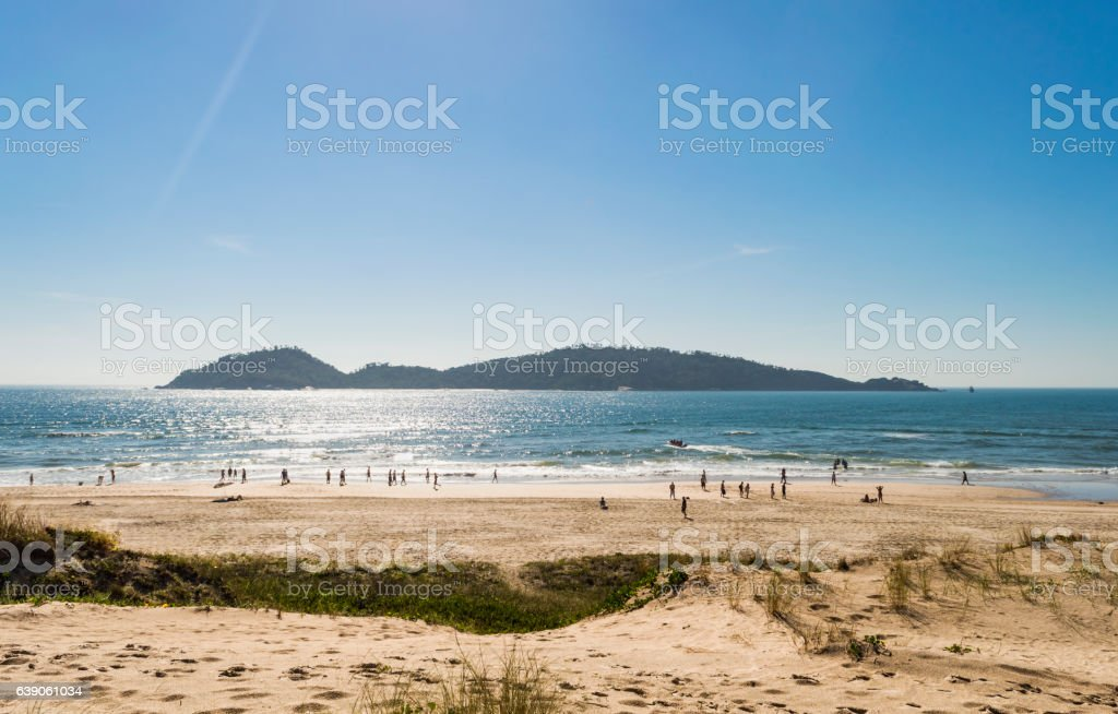 Dawning on Campeche beach, Florianopolis, Santa Catarina, Brazil stock photo