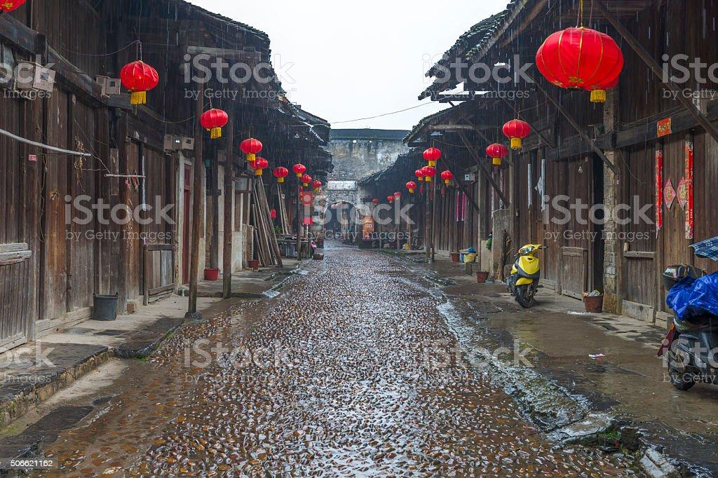 DaXu Ancient Town, Guilin in the rain, Guangxi, China stock photo