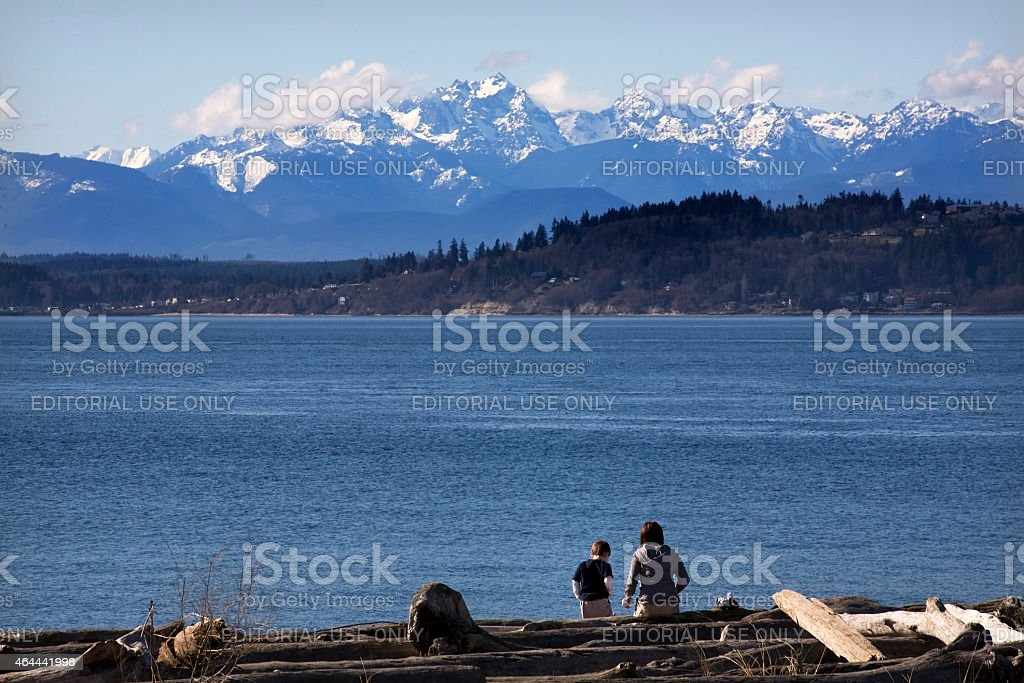Day at the Beach Mother and Son Edmonds Washington stock photo
