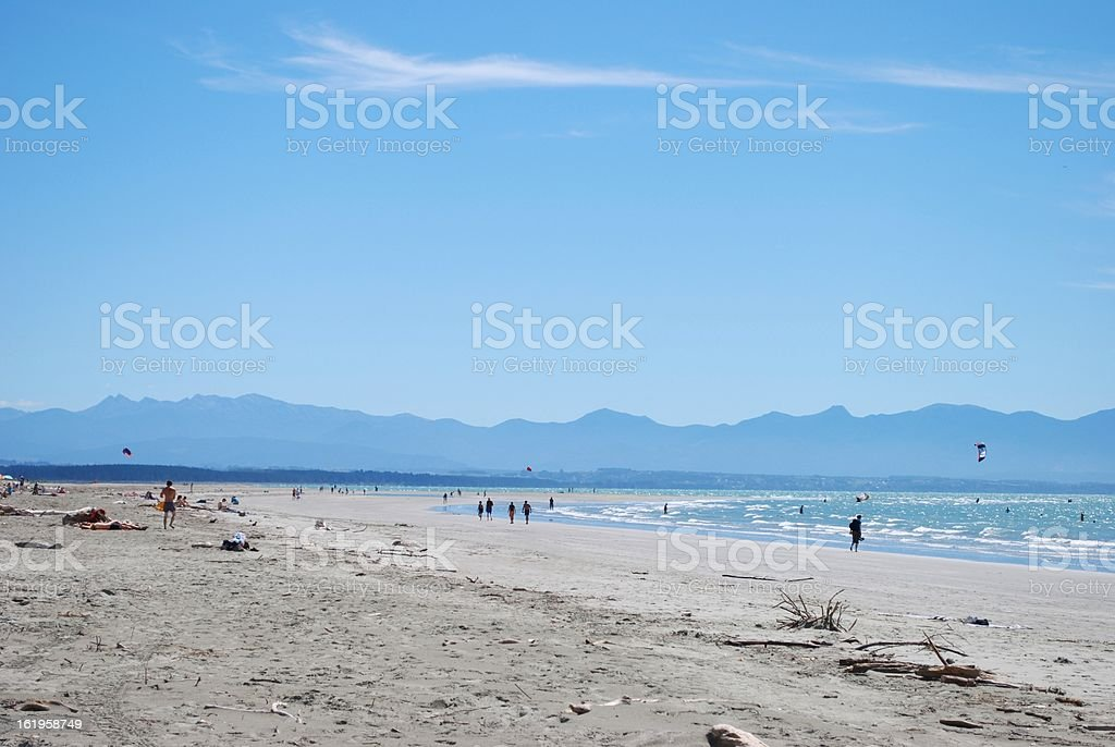 Day at the Beach - Tahunanui, Nelson, NZ stock photo