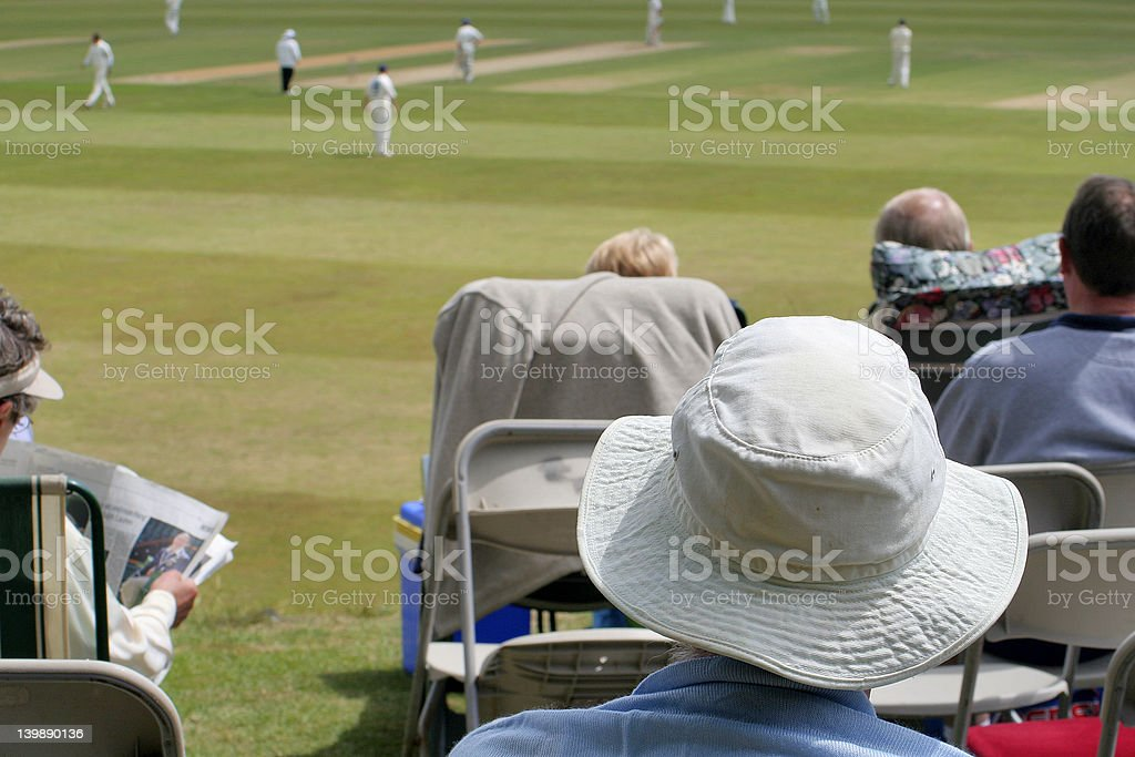 Day at the cricket stock photo